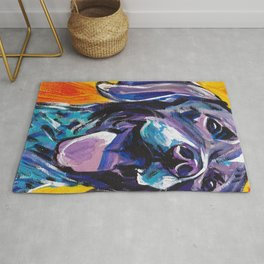 fun GSP German Shorthaired Pointer bright colorful Pop Art painting by Lea Rug
