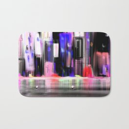 Cityscape By Night  sea Light  Full Color Bath Mat