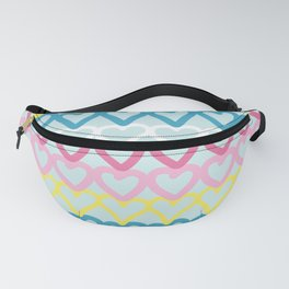 Colorful doodle hearts over blue Fanny Pack