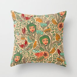 strange garden of faces. Throw Pillow