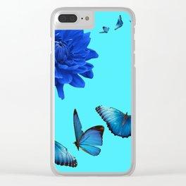 BLUE DAHLIA FLOWER & BLUE BUTTERFLIES ALLURE Clear iPhone Case