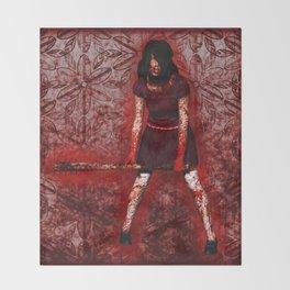 Linda - Blood-Soaked, Holding Bat Throw Blanket
