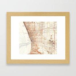 Vintage Map of Redondo Beach & Torrance CA (1934) Framed Art Print