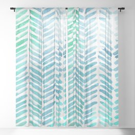 Handpainted Chevron pattern - light green and aqua - stripes Sheer Curtain