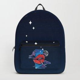 Red lip gloss on black Backpack