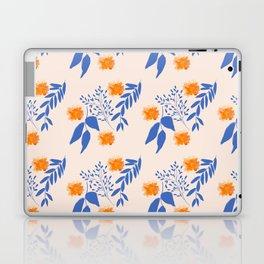 Floral Pattern Indigo Orange Blue Laptop & iPad Skin