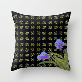 Atom Flowers #34 in purple and green Throw Pillow