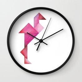 Tangram Flamingo Wall Clock