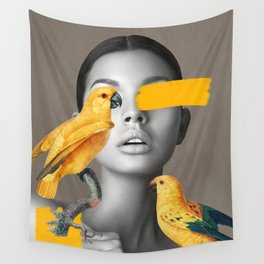 Girl with Parrots Wall Tapestry