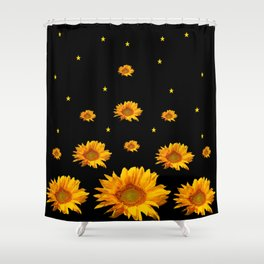 GOLDEN STARS YELLOW SUNFLOWERS  BLACK COLOR Shower Curtain