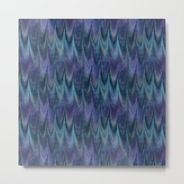 Blue Abstract Feather Pattern Metal Print