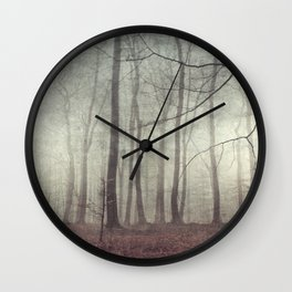 mood scape - mist woodlands Wall Clock