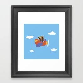 Bear in Airplane Framed Art Print