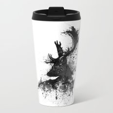Deer Head Watercolor Silhouette - Black and White Metal Travel Mug