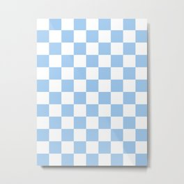 Checkered - White and Baby Blue Metal Print