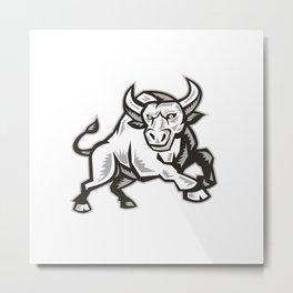 Raging Bull Attacking Charging Woodcut  Metal Print