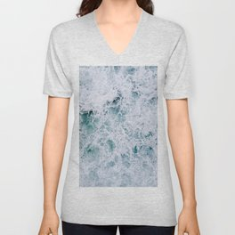 Waves in an abstract white and blue seascape Unisex V-Neck