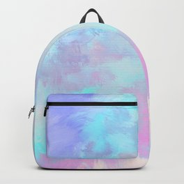 Artistic modern pastel pink blue watercolor brushstrokes Backpack