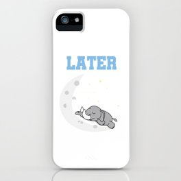Late Lazy Elephant On Moon Elephantidae Mammal Mammoth Tusks Trunk Gift iPhone Case