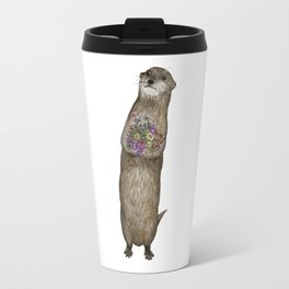 Otter and Flowers Travel Mug