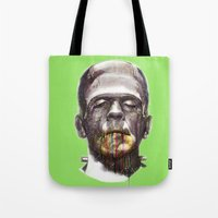 frankenstein Tote Bags featuring Frankenstein by beart24