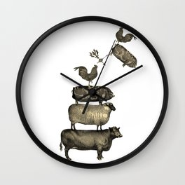 Farm Living - Stacked Animals Wall Clock