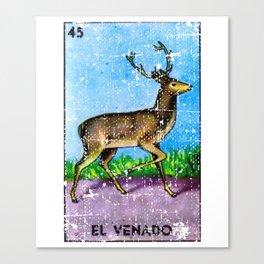 El Venado Mexican Loteria Bingo Card Canvas Print