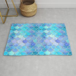 Aqua Pearlescent & Gold Mermaid Scale Pattern Rug