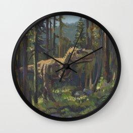 HUNT, T.rex dinosaur painting by Frank-Joseph Wall Clock