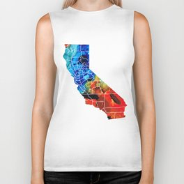 California - Map Counties by Sharon Cummings Biker Tank