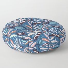 Exotic Wilderness on Blue / Panthers and Plants Floor Pillow