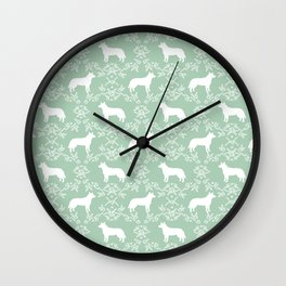 Australian Cattle Dog minimal floral silhouette pattern mint and white dog art Wall Clock