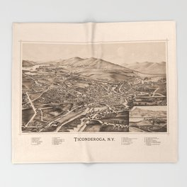 Ticonderoga Map 1891  (sepia) Throw Blanket