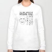 nicolas cage Long Sleeve T-shirts featuring The Many Haircuts Of Nicolas Cage. by Stewart Chown