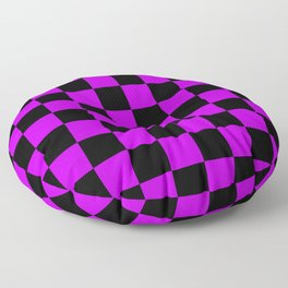 Black and Purple Checkerboard Pattern Floor Pillow