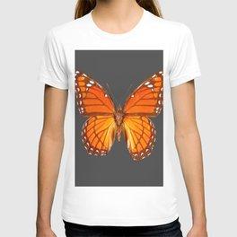 CHARCOAL GREY ORANGE MONARCH BUTTERFLY T-shirt