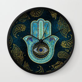 Decorative Hamsa Hand with paisley background Wall Clock