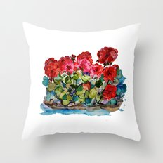 Red Geraniums painting Throw Pillow