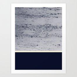 Navy Blue Pale Yellow on Navy Blue Concrete #1 #decor #art #society6 Art Print
