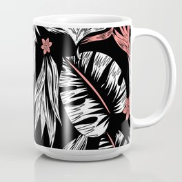 palm leaves pattern in black and white Coffee Mug