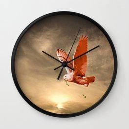 Snowy Owls Flight Wall Clock