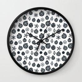 black and white Scandinavian Christmas Prints patterns Wall Clock