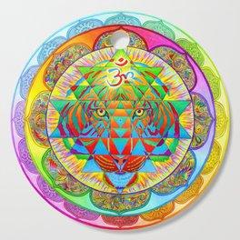 Inner Strength Psychedelic Tiger Sri Yantra Mandala Cutting Board