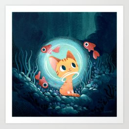 Ginger cat and fishes Art Print