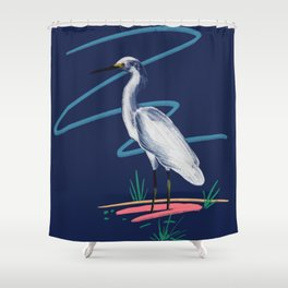 Egret on the Bayou Shower Curtain