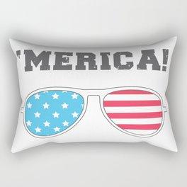'MERICA! - American Flag Aviator Glasses Rectangular Pillow