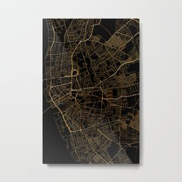 Black and gold Liverpool map Metal Print