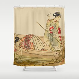 Women Gathering Lotus Blossoms Shower Curtain