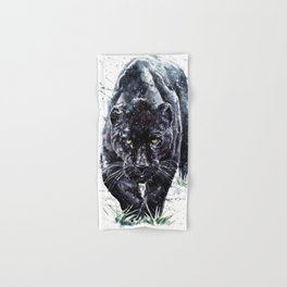 Panther watercolor painting predator animals puma Hand & Bath Towel