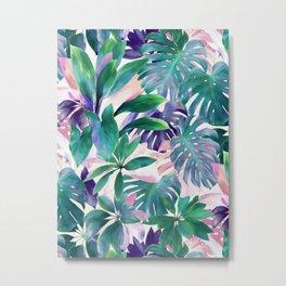 Pastel Summer Tropical Emerald Jungle Metal Print